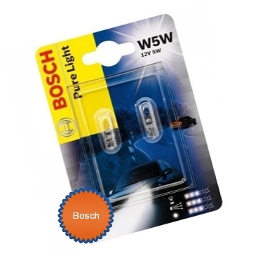 Лампа галогеновая W5W T10 - Bosch Pure Light 12V 2W
