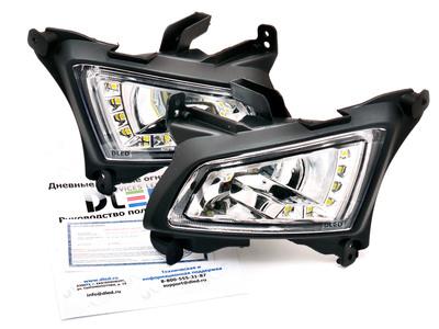 Штатные дневные ходовые огни ВАЗ Приора 2170-72 в ПТФ DLed DRL-150 SMD5050 2x5.8w