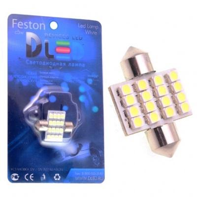 Светодиодная авто лампа C5W 31 мм - 16 SMD3528 1.28Вт Белая