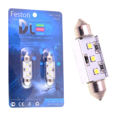 Светодиодная авто лампа C5W 31 мм - 3 SAMSUNG 3Вт Белая