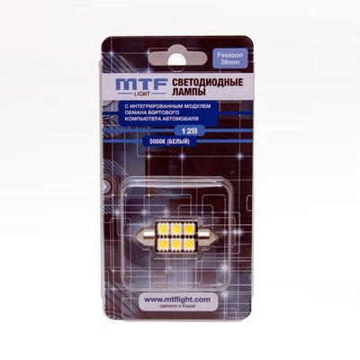 Светодиодная авто лампа C5W 36мм – MTF CAN-BUS 5000K Белые