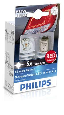 Светодиодная авто лампа P21W 1156 - Philips X-treme Ultinon LED Красная