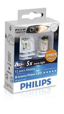 Светодиодная авто лампа PY21W 1156 - Philips X-treme Vision LED 5Вт Жёлтая