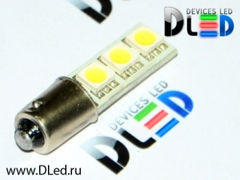 Светодиодная авто лампа T4W BA9S - 3 SMD5050 0.72Вт Белая