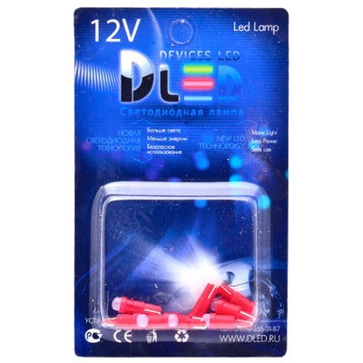 Светодиодная авто лампа T5 – 1 COB 360 1Вт Красная