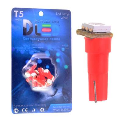 Светодиодная авто лампа T5 – 1 SMD5050 0.24Вт Красная