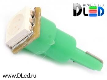 Светодиодная авто лампа T5 – 1 SMD5050 0.24Вт Зелёная