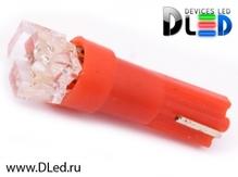Светодиодная авто лампа T5 – 3 Dip 0.3Вт Красная