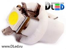 Светодиодная авто лампа T5 – B8.3D 1 SMD 5050 0.24Вт Белая