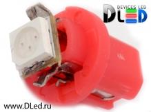 Светодиодная авто лампа T5 – B8.3D 1 SMD 5050 0.24Вт Красная