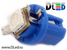 Светодиодная авто лампа T5 – B8.3D 1 SMD 5050 0.24Вт Синяя