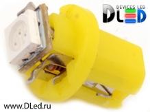 Светодиодная авто лампа T5 – B8.3D 1 SMD 5050 0.24Вт Жёлтая