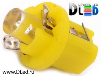 Светодиодная авто лампа T5 – B8.5D 1 Dip 0.2Вт Жёлтая