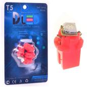 Светодиодная авто лампа T5 – B8.5D 1 SMD 5050 0.24Вт Красная