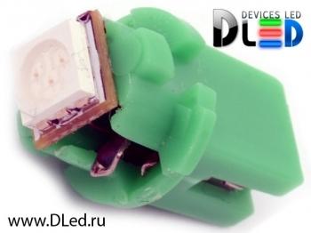 Светодиодная авто лампа T5 – B8.5D 1 SMD 5050 0.24Вт Зелёная