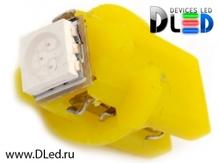 Светодиодная авто лампа T5 – B8.5D 1 SMD 5050 0.24Вт Жёлтая