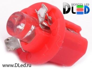 Светодиодная авто лампа T5 – B8.5D 1 Dip 0.2Вт Красная