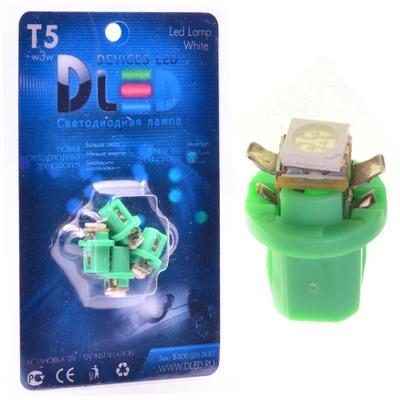 Светодиодная авто лампа T5 – B8.5D 1 Dip 0.2Вт Зелёная