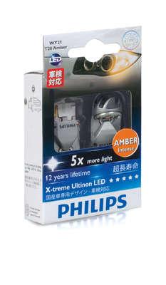 Светодиодная авто лампа W21W 7440 - Philips X-treme Vision LED Жёлтая