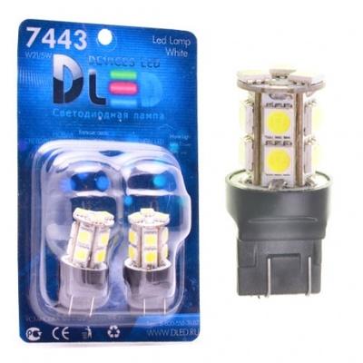 Светодиодная авто лампа W21/5W 7443 - 13 SMD5050 3.12Вт Жёлтая