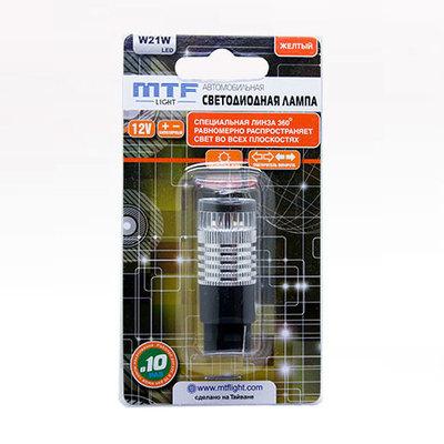 Светодиодная авто лампа W21W 7440 - MTF 360° 2.1W Желтая