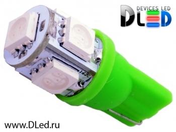 Светодиодная авто лампа W5W T10 – 5 SMD5050 1.2Вт Зелёный