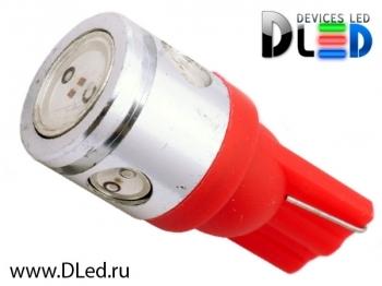 Светодиодная авто лампа W5W T10 – 1 HP + 3 Mini Hp 2.5Вт Красная