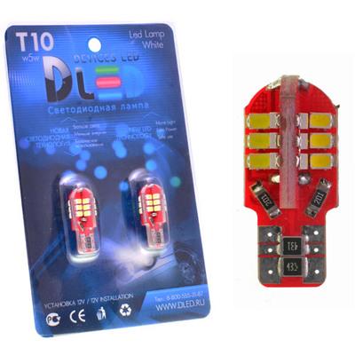 Светодиодная авто лампа W5W T10 – 24 SMD1210 Обманка 1.6Вт Белая