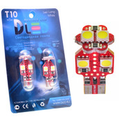 Светодиодная авто лампа W5W T10 – 6 SMD5050 Red PCB+Обманка 1.44Вт Белая