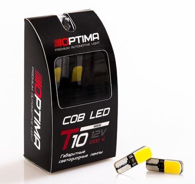 Светодиодная авто лампа W5W T10 – Optima Premium COB 3W 4200K Белая