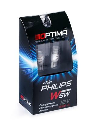 Светодиодная авто лампа W5W T10 – Optima Chip 3W 5100K Белая