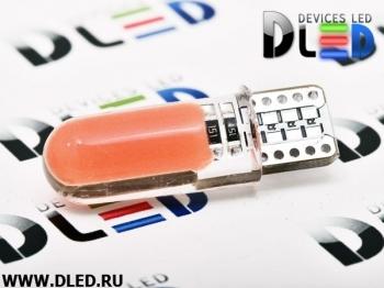 Светодиодная авто лампа W5W T10 – 2 COB PCB 1Вт Красная