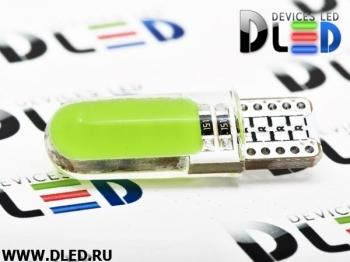 Светодиодная авто лампа W5W T10 – 2 COB PCB 1Вт Зелёная
