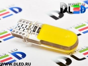 Светодиодная авто лампа W5W T10 – 2 COB PCB 1Вт Жёлтая
