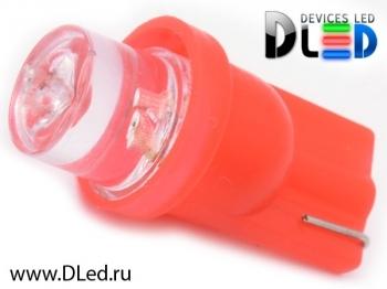 Светодиодная авто лампа W5W T10 – 1 Dip Led Цилиндр 0.1Вт Красная