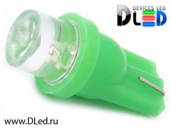 Светодиодная авто лампа W5W T10 – 1 Dip Led Цилиндр 0.1Вт Зелёная
