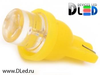 Светодиодная авто лампа W5W T10 – 1 Dip Led Цилиндр 0.1Вт Жёлтая