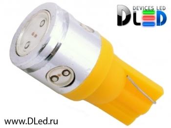 Светодиодная авто лампа W5W T10 – 1 HP + 3 Mini Hp 2.5Вт Жёлтая