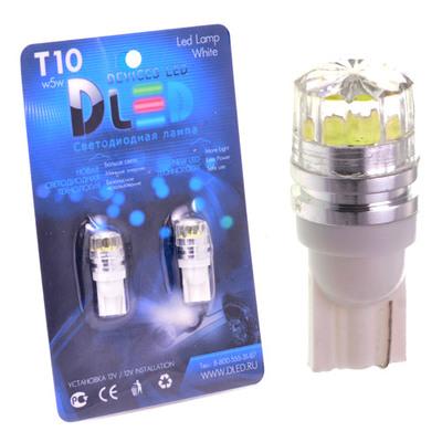 Светодиодная авто лампа W5W T10 – 1 HP Линза 360 1Вт Белая