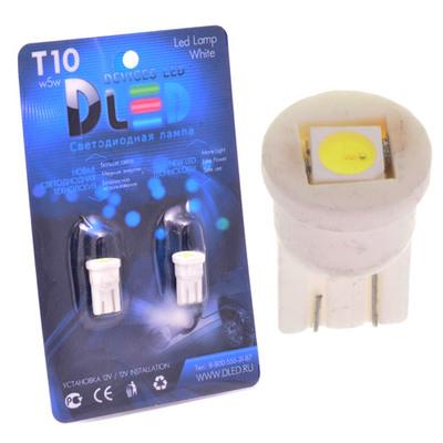 Светодиодная авто лампа W5W T10 – 1 SMD5050 Керамическая 0.24Вт Белая