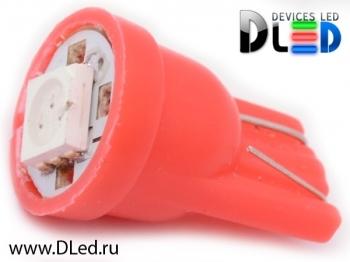 Светодиодная авто лампа W5W T10 – 1 SMD5050 0.24Вт Красная