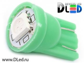 Светодиодная авто лампа W5W T10 – 1 SMD5050 0.24Вт Зелёная