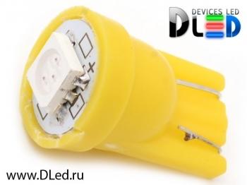 Светодиодная авто лампа W5W T10 – 1 SMD5050 0.24Вт Жёлтая