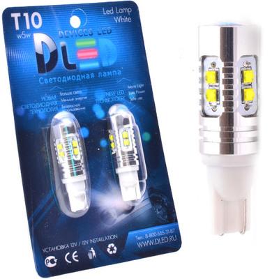 Светодиодная авто лампа W5W T10 – 10 Cree 50Вт Белая