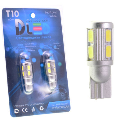 Светодиодная авто лампа W5W T10 – 10 SMD5630 Стабилизатор 4Вт Белая