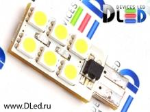 Светодиодная авто лампа W5W T10 – 12 SMD5050 3Вт Белая
