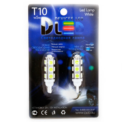 Светодиодная авто лампа W5W T10 – 13 SMD5050 3.16Вт Зелёная