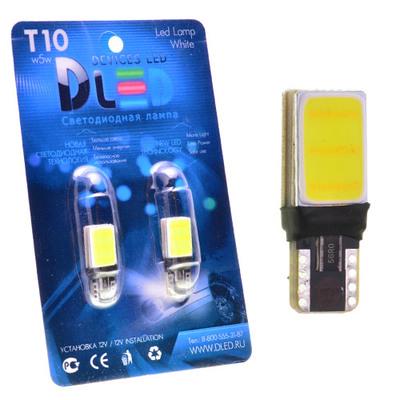 Светодиодная авто лампа W5W T10 – 2 COB 3Вт Белая
