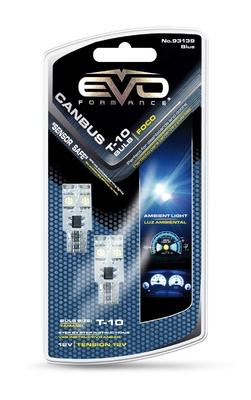 Светодиодная авто лампа W5W T10 –2 EVO FORMANCE CАNBUS Синяя