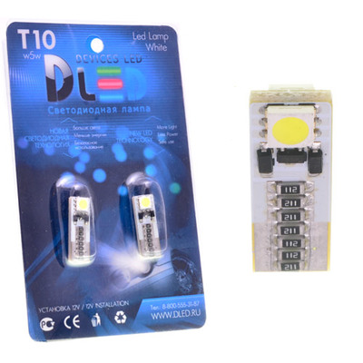 Светодиодная авто лампа W5W T10 – 2 SMD5050 Обманка 0.48Вт Белая
